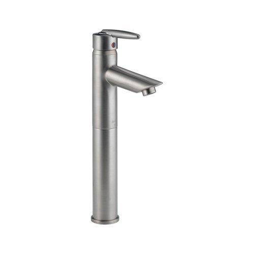 Delta 585LF-VSS Grail Single Handle Centerset Bathroom Faucet with Riser - Less Pop-Up, Stainless