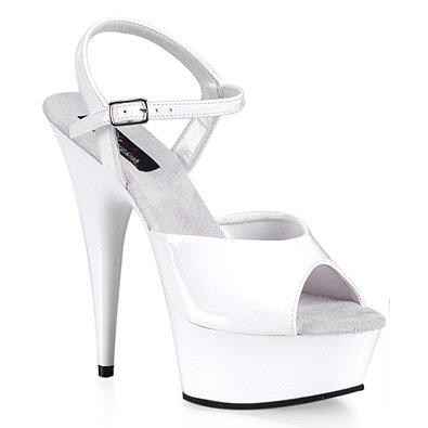 Pleaser 5.75 Inch Stiletto Platform - Pleaser Women's Delight-609/W/M Platform Sandal, Wht Pat/Wht, Size - 10