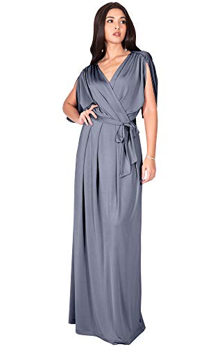 KOH KOH Plus Size Womens Long Semi-Formal Short Sleeve V-Neck Full Floor Length V-Neck Flowy Cocktail Wedding Guest Party Bridesmaid Maxi Dress Dresses Gown Gowns, Light Slate Gray 2XL ()