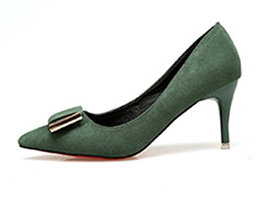Carré Aisun Confortable Escarpins Kitten Femme Vert Tire heel XqrUXw5