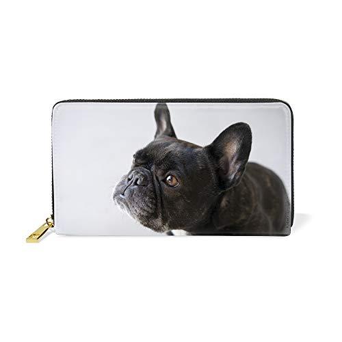 Women's Black French Bulldog Large Capacity Soft Real Leather Wallet Checkbook Passport Holder