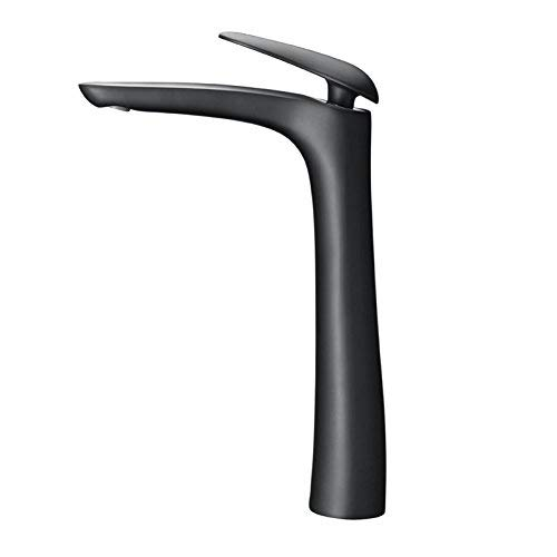 ZHAS High-Grade Duckbill Handle Paint Full Black tap Copper high Foot hot and Cold Vertical Above Counter Basin Dragon Head