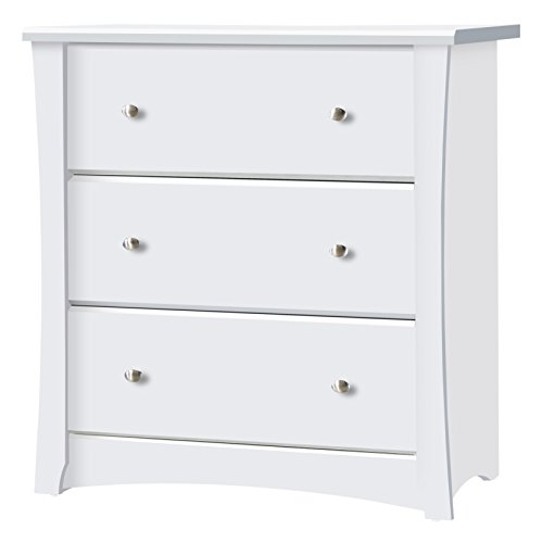 Storkcraft Crescent 3 Drawer Chest, White, Kids Bedroom Dresser with 3 Drawers, Wood & Composite Construction, Ideal for Nursery, Toddlers Room, Kids Room