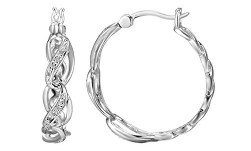 Natural Diamond Accent infinity Braid Hoop Earrings in 14k White Gold Over Sterling - Braid Accent Diamond