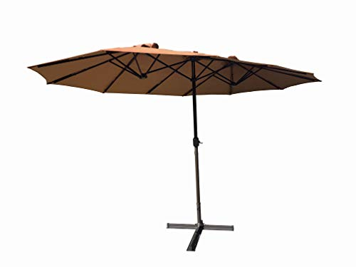 - Honture 13.8ft x 8.7ft Oversized Double Sided Triple Vent Patio Umbrella Twin Umbrella (Brown)