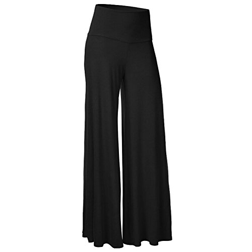 Ladies Decent Flowy Flare Wide Leg Palazzos High Waisted Flared Lounge Pants for Women Black M ()