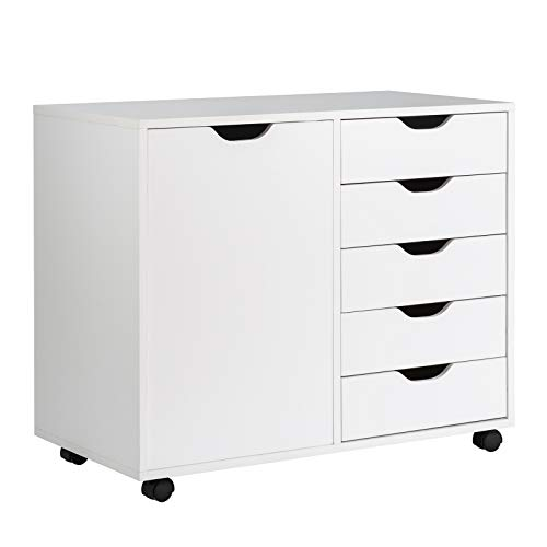 "Giantex Drawers Cabinet Mobile Lateral Filing Organizer with 5 Drawers,1 Side Cabinet and Wheels Mobile Side Cabinet Chest for Home Office Storage Use 5-Drawer Dresser (31""x 15.5"" x 25.5"", White)"