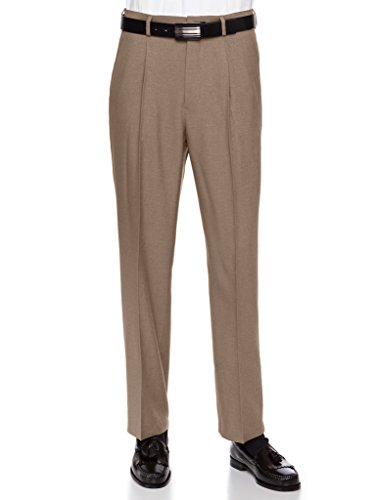 Mens Dress Pants, Formal and Work Slacks for Men – Pleated Front Cuffed Hem Toast 38 ()