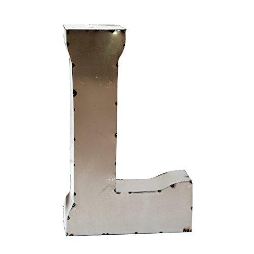 Monogram Silver Metal (Rustic Arrow Letter L for Decor, 14-Inch, Silver)
