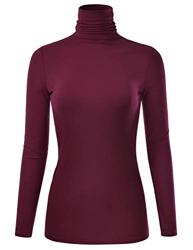 EIMIN Women's Long Sleeve Turtleneck Lightweight Pullover Slim Shirt Top Burgundy ()