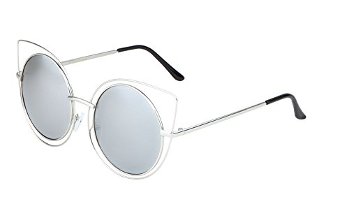 Round Cat Eye Wireframe Sunglasses Flat Color Mirror Lens Womens Mod Fashion (Silver Silver, - Sunglasses Wireframe