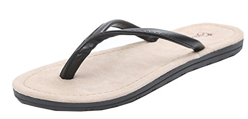 Dosame Mens Leather Flip Flop Sandals Mens Slipper Anti-Slip Odourless