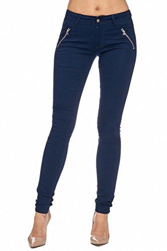 Arizonashopping - Hosen Pantaloni In Tessuto Da Donna Tube Treggings Skinny Fit D1943 Blu