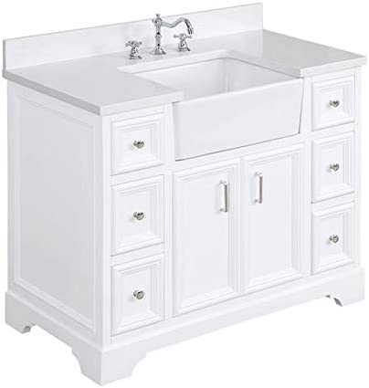 Amazon Com Zelda 42 Inch Bathroom Vanity Quartz White Includes White Cabinet With Stunning Quartz Countertop And White Ceramic Farmhouse Apron Sink Kitchen Dining
