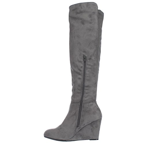 Chinese Laundry Womens Unbelievable Almond Toe Over Knee Fashion Boots Grey Size 6.5 M US