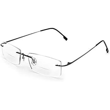 898353aa56 Flexible Titanium Rimless Frame Bifocal Reading Glasses +2.00 Men Women  Lightweight Readers