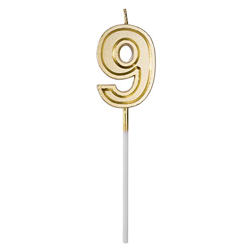 Belleone Birthday Cake Candle Numbers Decoration - Number Candle Set for Birthday Cake Cupcake Topper Decoration Birthday Party Celebration (Gold Number 9)