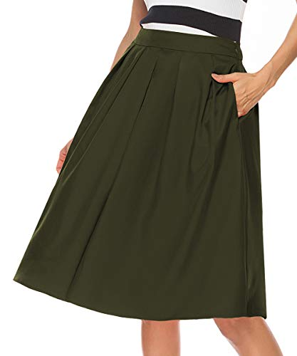 REGAI Women's High Waisted A line Skirt Skater Pleated Full Midi Skirt Army green-S
