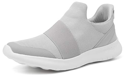 WHITIN Walking Sneakers for Women Slip on Mesh Comfortable Lightweight Ladies Athletic Gym Jogging Travel Long Standing Casual Classic Stylish Shoes Grey Size 6.5 (Best Stylish Travel Shoes)