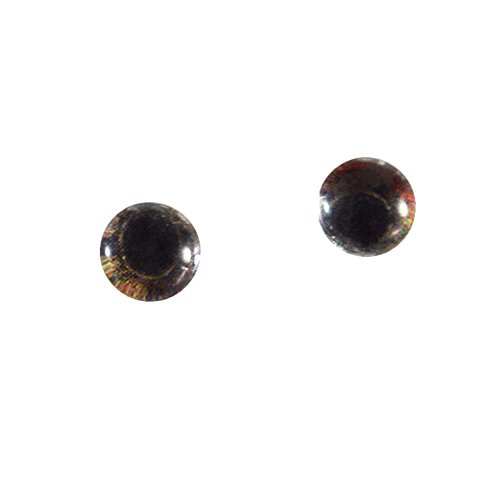 6mm Pair of Copper Frog Doll Making Glass Eyes Flatback Cabochons (Iris Frogs)