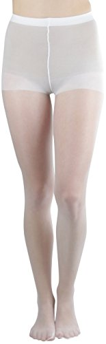 ToBeInStyle Women's Control Top Sheer Full Footed Panty Hose Hosiery Stockings - White - One Size Plus