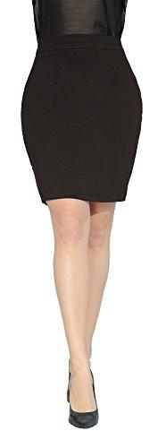 Marycrafts Women's Above Knee Short Mini Pencil Skirt M Dark Brown 3