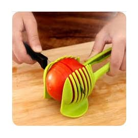 """Laytek Tomato Slicer, Multi-functional Handheld Tomato Round Slicer, Fruit Vegetable Cutter, Lemon Shredders Slicer, With the Special Hook 67 Material : ABS Mold Size :18.5 x 8 CM /7.3 """"X 3.1"""" Package Includes : 1 x HandHeld FruitS Round Slicer With this tomato slicer,you'll create perfect tomato slices everytime,This kind of fruit and vegetable slice assistant design novel, beautiful, bright color, easy to operate, safe and reliable. Add the tomato slicer along each gap from the top down the you could cut it into pieces"""