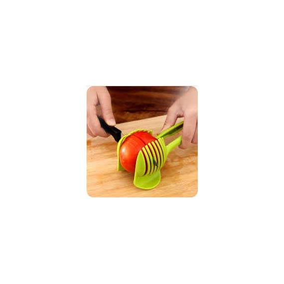 """Laytek Tomato Slicer, Multi-functional Handheld Tomato Round Slicer, Fruit Vegetable Cutter, Lemon Shredders Slicer, With the Special Hook 1 Material : ABS Mold Size :18.5 x 8 CM /7.3 """"X 3.1"""" Package Includes : 1 x HandHeld FruitS Round Slicer With this tomato slicer,you'll create perfect tomato slices everytime,This kind of fruit and vegetable slice assistant design novel, beautiful, bright color, easy to operate, safe and reliable. Add the tomato slicer along each gap from the top down the you could cut it into pieces"""