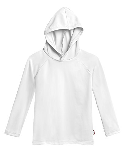 City Threads Little Boys' and Girls' Hooded Long Sleeve Rashguard for Sun Protection Beach Pool Swimming Tee, White, - Boys Hooded Shirt Toddler