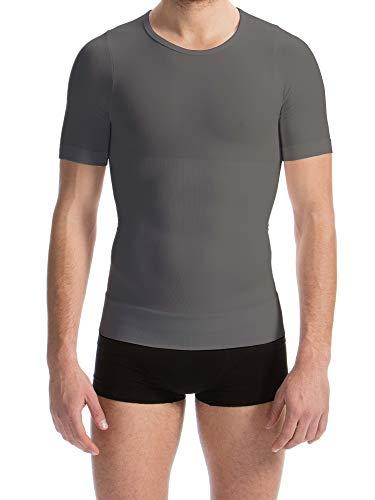- FarmaCell 419 (Grey, L) Men's Short Sleeve Tummy Control Body Shaping T-Shirt