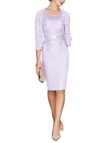 Newdeve Mother of The Bride Dresses with Jacket Blush Slim Wedding Party Dresses Lavender
