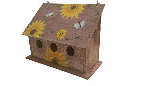 (Sunflower Birdhouse - Wooden Birdhouses - WIDE Purple - Birdhouses For Outside - Birdhouses Decorative - Colorful Birdhouse - Chickadee Birdhouse - Finch Birdhouse - Wren Birdhouse - Painted Birdhouse)