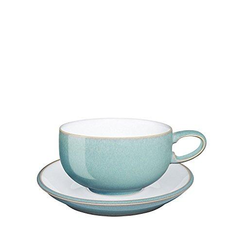 Denby Azure Tea Cups and Tea Saucer, Set of 8