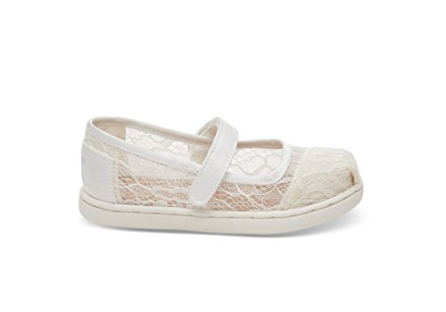TOMS Tiny Mary Jane White Lace 10010187 Toddler Size 10