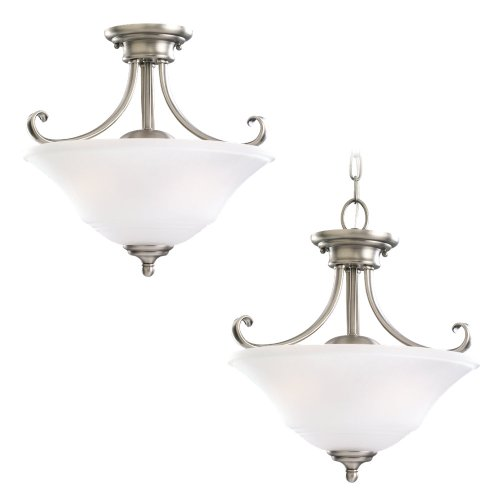 - Sea Gull Lighting 77380-965 2-Light Convertible Semi-Flush Fixture, Satin Etched Glass Shade and Antique Brushed Nickel