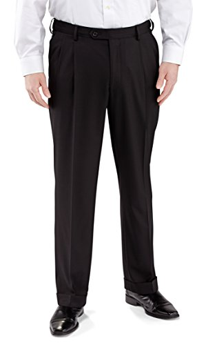 Winthrop & Church Men's Pleated Front Poly Rayon Pants (Black, 42x29) by Winthrop & Church