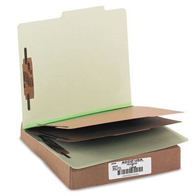Sectioned Top Tab Classification Folders - Sectioned for efficient organization. - ACCO BRANDS, INC. Pressboard 25-Pt. Classification Folder, Letter, Six-Section, Leaf Green, 10/Box