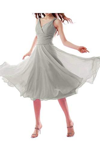 Einfach Promkleider La Chiffon Abendkleider V mia Traegerkleider Braut Wadenlang Brautjungfernkleider Elegant Silber Kurz Ausschnitt EFwArqFB