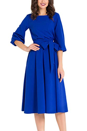 WIWIQS Women's Vintage A-line Bow-Knot Half Sleeve Swing Casual Party Midi Dress,Blue S