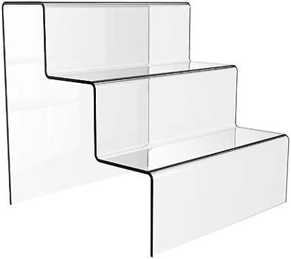 Expositor, diseño de escalera de 3 peldaños, gran tamaño, acrílico: Amazon.es: Oficina y papelería
