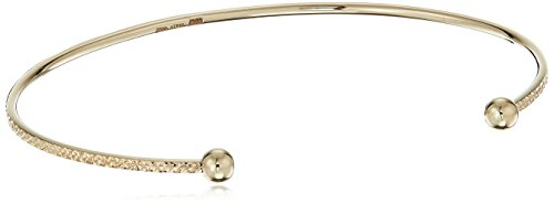 """Italian 10k Yellow Gold Delicate Open Bangle Cuff Bracelet, 7.25"""" by Amazon Collection"""