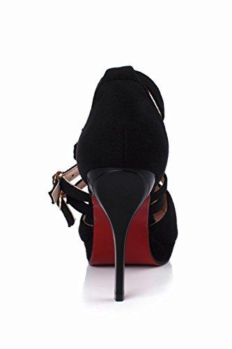 Nabuk In Spillo Sexy Nero Carolbar Donna Tacco Fibbia Con Alto A Elegante 1wwOzx6vq