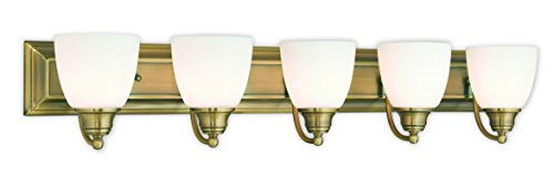 Livex Lighting 10505-01 Antique Brass Bath Vanity with Satin Opal Glass