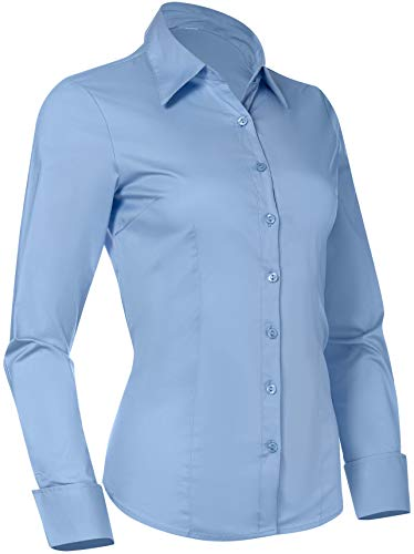 Pier 17 Button Down Shirts for Women, Fitted Long Sleeve Tailored Work Office Blouse (Small, Blue)