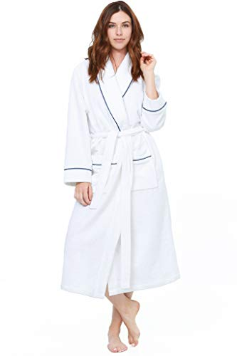 Jones New York Women's Bathrobe Long Sleeve Soft Comfortable Spa Robe, White, Small/Medium