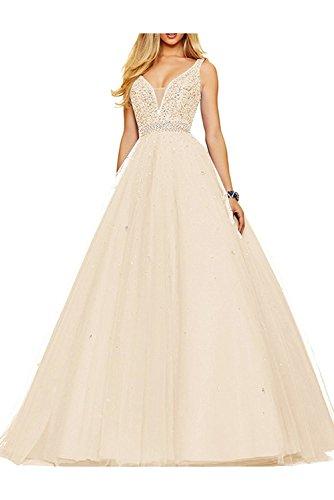 Braut Abendkleider Partykleider Zwei Ausschnitt Abiballkleider mia Abschlussballkleider Pfirsisch Lang Elfenbein V Traeger La Oxw0TqW