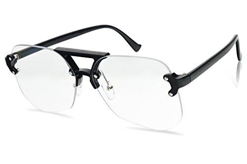 SunglassUP Rimless Geometric Transparent Iconic Aviator Style Sun Glasses (Black | Clear Lens, - Dorky Sunglasses