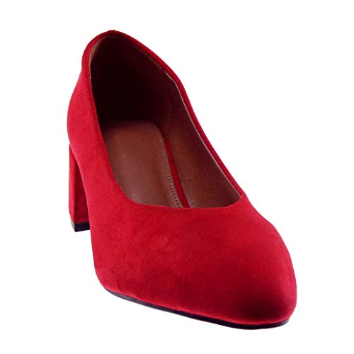 Femme Haut Bloc Angkorly 5 Decolleté Escarpin Cm on Mode Chaussure Slip Rouge Talon cFWrc1