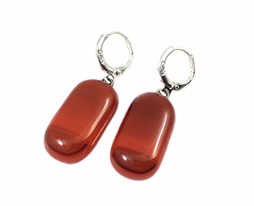 Handmade Fused Glass Dangle Earrings | 925 Sterling Silver | Red | Variegated Color | Made in Costa Rica | by Gerty ()