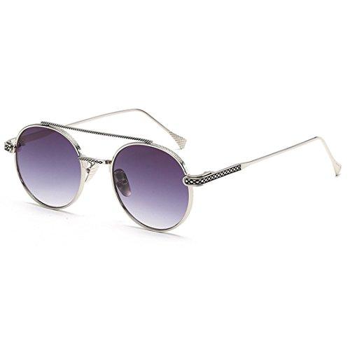 metal Lente Inlefen Men redondas Lente Gris delgada Plateado sol UV400 women de Espejo de Gafas w8qFwB